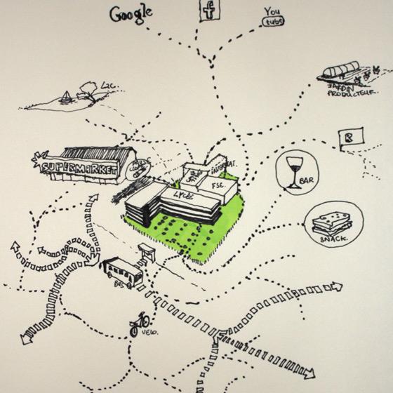 Dessin cartographique du lycée et de ses abords (© Jean-Sébastien Poncet)