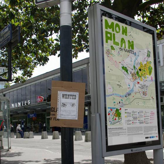 Affiche de la carte dans les rues de Nantes