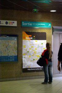 """Affiche cartographique des dernières activités du réseau social rennais """"La Ruche"""""""