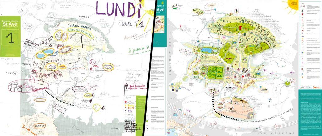 Cartographie subjective de Saint-Avé : atelier avec les enfant et carte imprimée
