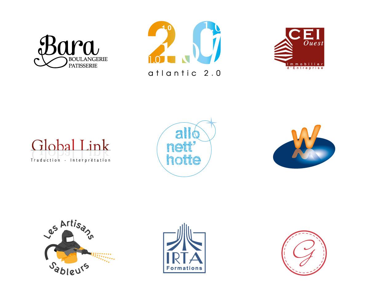 Sélection de quelques logos créés par l'agence. Ce qui compte n'est pas le style ou l'effet de mode mais le fait que ceux qui le portent se sentent bien avec et qu'il parle à ceux qui le découvre