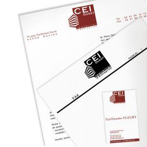 Déclinaisons de la charte : papier à en-tête, cartes de visite, fax...