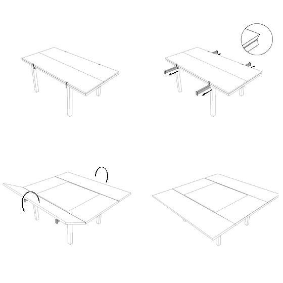 De 1x2m, la table Cène passe à 2x2m.