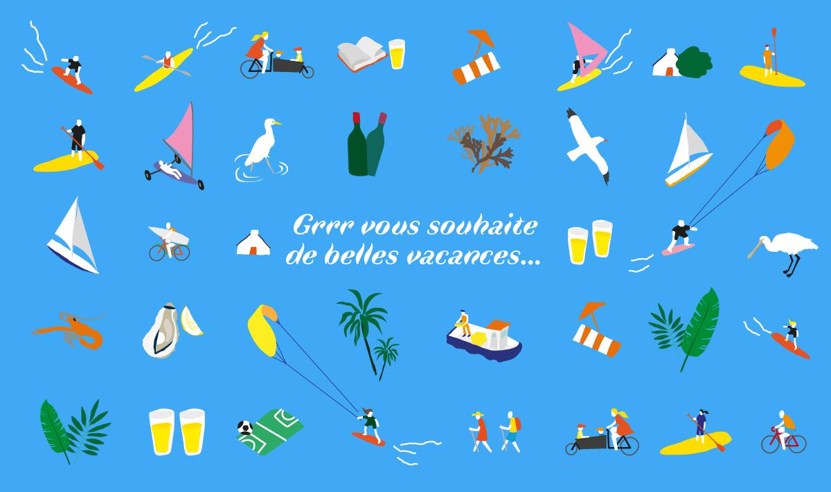 Illustration de personnage dans diverses activités estivales par Grrr