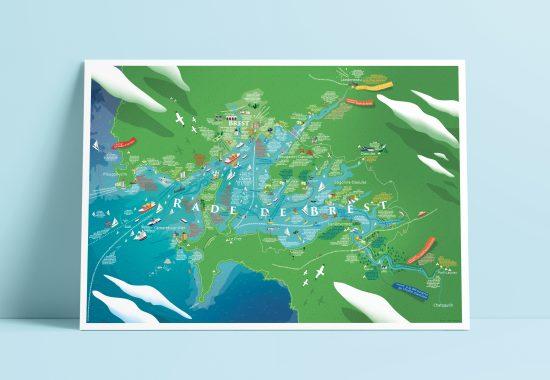 Affiche, nautisme, Finistère, carte, amoureuse
